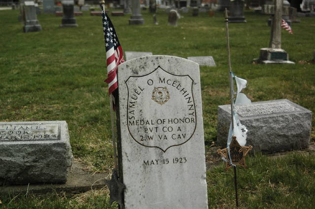 Pictured is the headstone of Samuel McElhinny, a man who was awarded the Congressional Medal of Honor for actions taken during the Civil War.