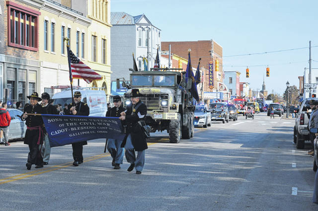 Camp Cadot 126, Sons of Union Veterans, strides in front of the remaining parade participants in Galllipolis on Veterans Day.