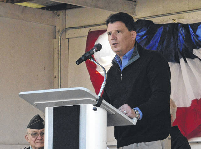 Assistant Director at Ohio Department of Veterans Services Sean McCarthy addresses assembled Gallia citizens about the importance of remembering the veteran's purpose in defending freedom.