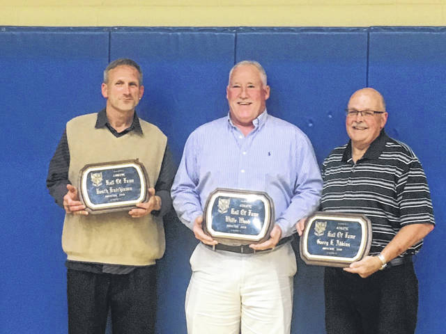 Pictuerd from left, Heath Hutchinson, Willie Wood, Garry Adkins. The trio were inducted into the Gallia Academy Athletic Hall of Fame.