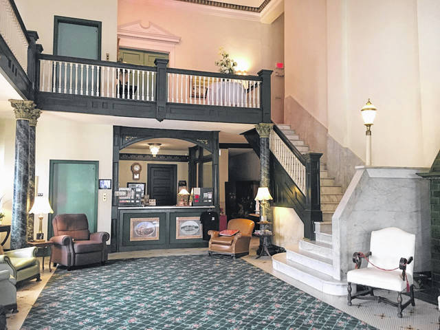 Pictured is the front lobby of the Lowe Hotel.