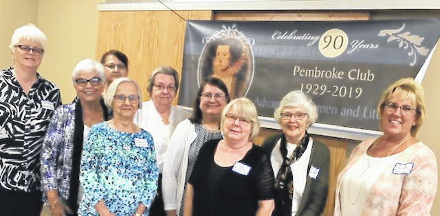 Pictured are Pembroke Book Club members, front row, Pam Wiseman, Cheryl Sheard, Janet Wetherholt, Sandee Saxon, Becky Carroll, and Kim Canaday; back row, Annette Hope, Jean Moore, and Alice Dachowski. Members not pictured are June Wells, Shaleen Mercer. and Marty Roderick