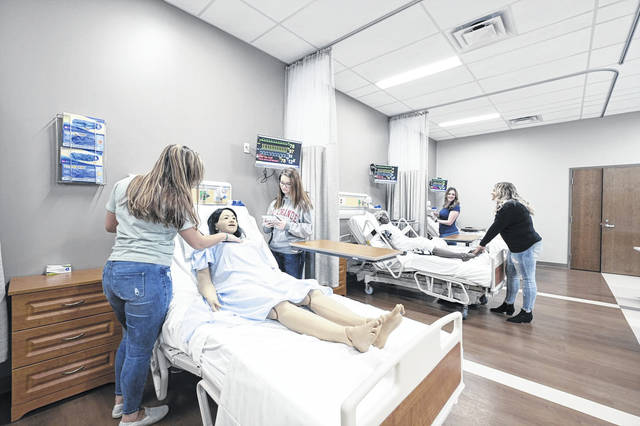 Nursing students practicing assessment skills with Nursing Anne Simulators in the Rio Simulation Center on the campus of the University of Rio Grande and Rio Grande Community College. The new center will be unveiled publicly Friday, November 22, 2019.