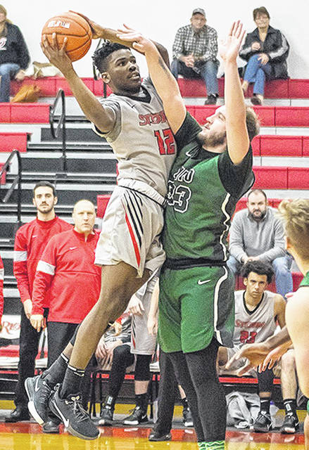Rio Grande's Kyle Lamotte puts up a jumper in the lane during the second half of Thursday afternoon's 89-68 win over Ohio University-Lancaster at the Newt Oliver Arena.
