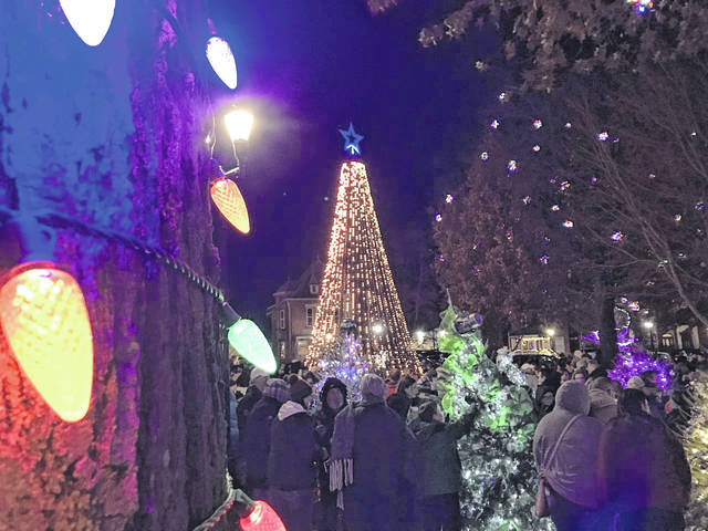 This electronic tree, which rotates its digital displays, was donated by Ohio Valley Bank to Gallipolis in Lights this year.