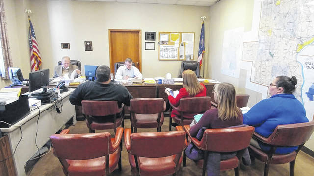 Gallia Commissioners discuss ongoing plans with the construction of a new Gallia Jail along with other county issues, Thursday.