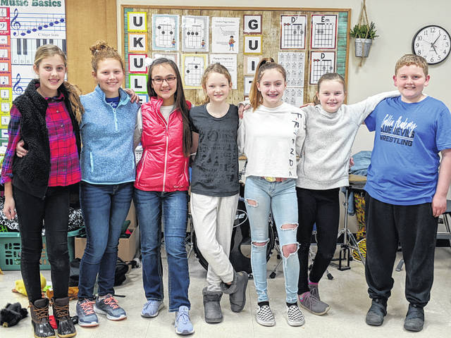 Students who are performing in Cincinnati, are, Olivia Whitt, Jackson Loveday and Lauren Eachus from Washington Elementary; Ida Patterson, Aubree Frazier, Loulea Walker and Caroline Shoecraft from Green Elementary.