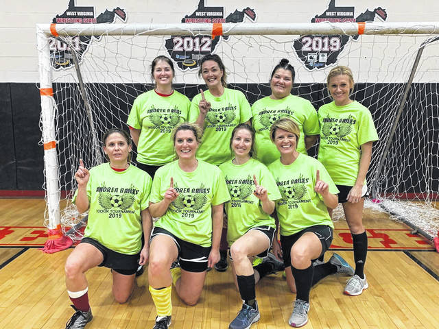 Pictured is the winning team of the women's division, named Footloose.