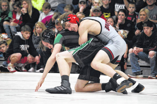 Point Pleasant sophomore Justin Bartee maintains leverage on an opponent during a 138-pound match against Winfield on Dec. 11, 2019, in Point Pleasant, W.Va.