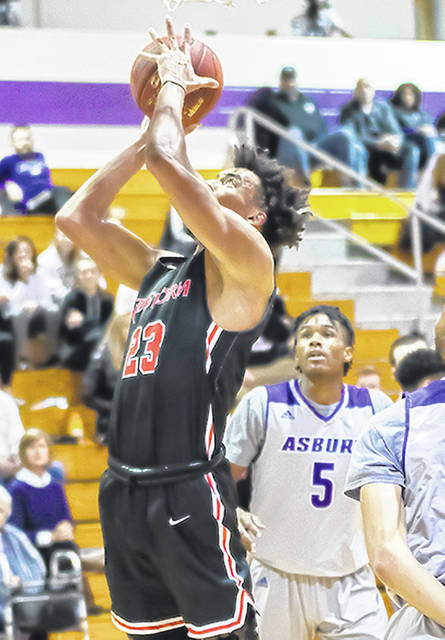 Rio Grande's Greg Wallace puts in two of his career-high 19 points in Tuesday night's 64-61 win over Asbury University in Wilmore, Ky. Wallace also had nine rebounds in the victory.
