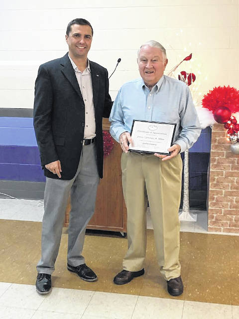 """Gallia County Engineer Brett A. Boothe recognizes Gallipolis Township Fiscal Officer James """"Jimmy"""" R. Allen with the Exemplary Service Award."""