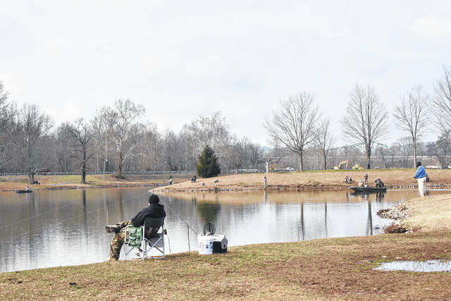 The West Virginia Department of Natural Resources stocked the lake at Krodel Park in Point Pleasant, W.Va. with trout on Thursday. Many fishermen have been out to see what they can catch at the lake since then. Krodel and Chief Cornstalk Lake in Southside, W.Va. were both stocked last week and they will be stocked with trout again in March.