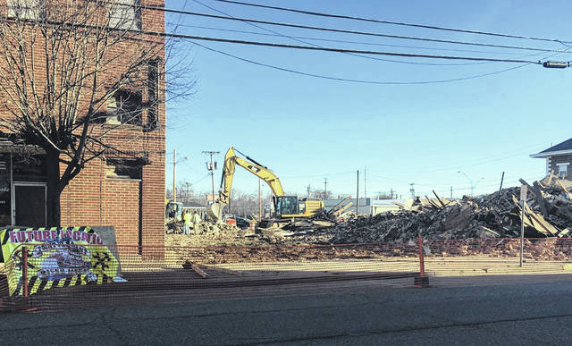 Demolition has begun on the buildings at the future home of the Point Pleasant River Museum and Learning Center. The buildings stood in the 300-block of Main Street in downtown Point Pleasant. Museum Director Jack Fowler previously told <em>Ohio Valley Publishing</em> the lots should be cleared by the end of January. Fowler said he is hoping construction on the new museum will begin in June.