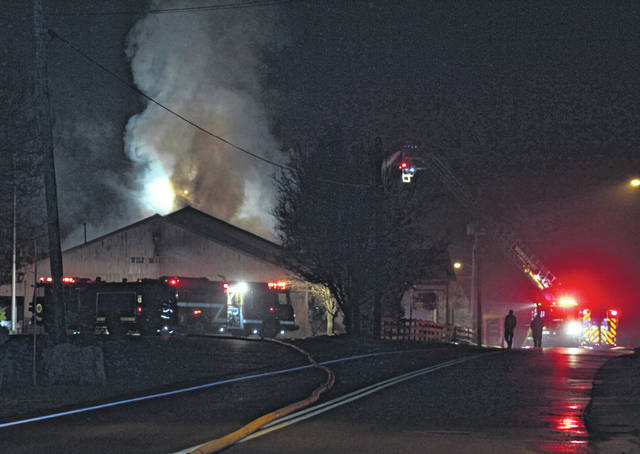 The firemen from Pomeroy, Middleport and Rutland were among those called to the fire of the structure on Sunday morning at the Wild Horse Cafe.