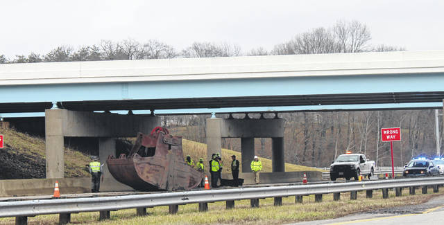 A Tuesday afternoon crash closed one lane of Route 7 near the US 33 and Route 7 intersection in the Rocksprings area. A truck hauling a piece of equipment appeared to have lost the metal bucket at the underpass on Route 7. Crews from the Ohio Department of Transportation, Meigs County Engineers Office and Ohio State Highway Patrol were on the scene Tuesday afternoon. © 2020 Ohio Valley Publishing, all rights reserved.