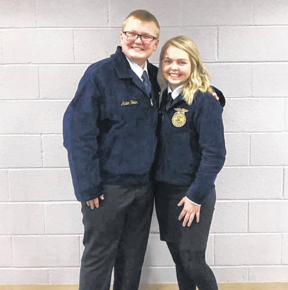 Pictured are Gallipolis FFA Chapter Members Aiden Toler and MaKenna Caldwell. Toler competed in the creed speaking contest and Caldwell in the beginning prepared speech contest held at Southern High School. Both received a top 10 ranking and Caldwell clamed a second place finish at the district contest, qualifying her to continue to compete at the state level in March.