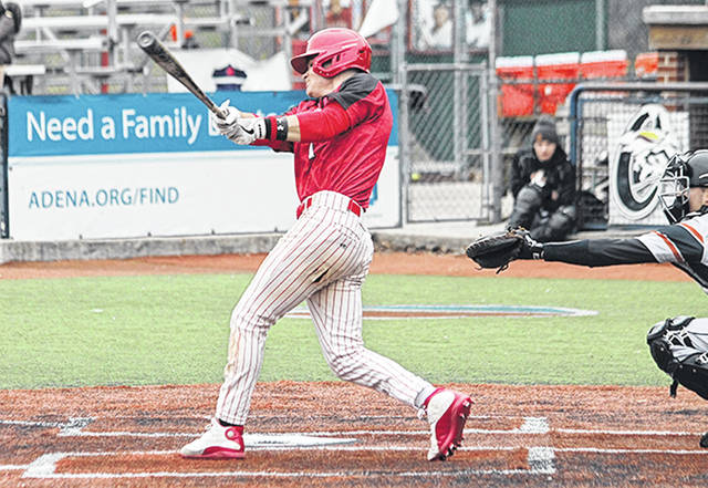 Rio Grande's Cade Cluxton had four hits, including a pair of triples, in Sunday's game two loss to Lourdes University at VA Memorial Stadium in Chillicothe.