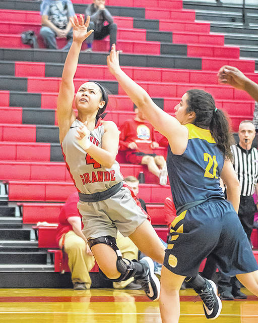 Rio Grande's Chyna Chambers puts up a shot during Saturday's loss to West Virginia University-Tech. The RedStorm will host Asbury in the quarterfinal round of the River States Conference Women's Basketball Championship on Wednesday night.