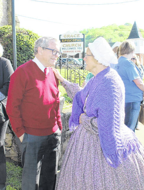 Governor Mike DeWine talks with Mary Powell of the Chester Shade Historical Association during his 2019 visit to Meigs County as part of the Bicentennial Celebration Weekend. DeWine will be back in Meigs County later this month.