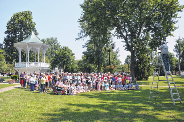 Area residents gathered last summer for a group photo to be sent to Ohio Magazine in Gallipolis City Park. Gallipolis was one of five communities recognized in Ohio Magazine's 14th annual Ohio's Best Hometowns issue. Gallipolis is also expected to be the setting of the WOUB Emmy Award-winning series Our Town, this year.