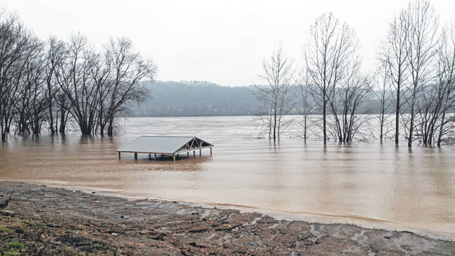 The Ohio River on the rise in Gallipolis with more rain reportedly in the forecast.