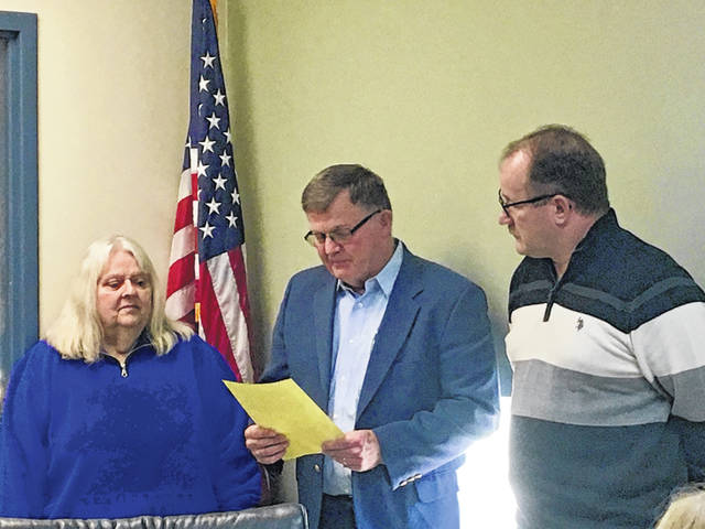 Brent Saunders, Gallia County Commissioners swore in Gallia County Board of Developmental Disabilities Members Julie Dragoo and Don Pearce. Both members were reappointed for a third term at the Gallia County Board of DD's organizational meeting on January 21, 2020 at the board offices at 77 Mill Creek Road in Gallipolis.