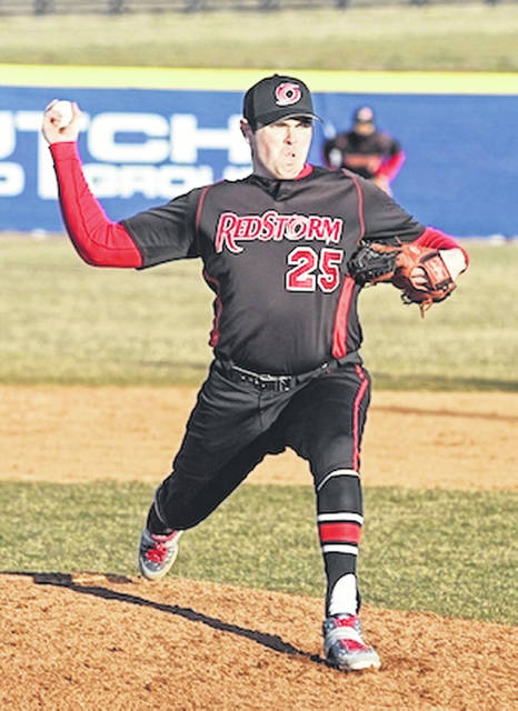 Rio Grande's Caine Whitney fires a pitch plate ward during the seventh inning of Saturday's 7-1 loss to Midway University in River States Conference action at Farmer-Ball Stadium.