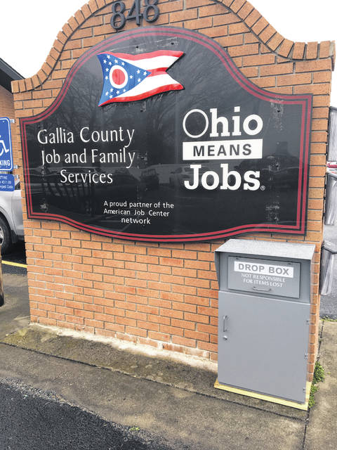 Gallia Job and Family Services has placed a drop box outside its facility at 848 Third Avenue in Gallipolis for the public to drop items off withing entering the agency and to also obtain application packets, interim reports and sanction compliance forms, all with envelopes attached.