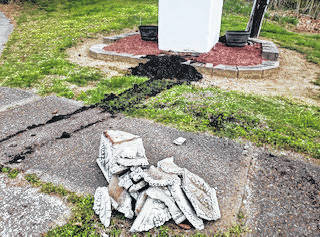 Several mailboxes and a concrete planter were among the items damaged or destroyed in Middleport on Thursday night.