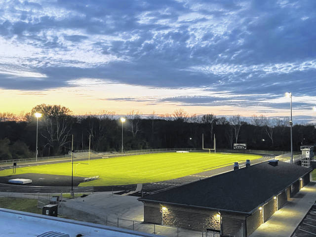 The stadium at River Valley High School illuminated in honor of its Class of 2020 on Monday night. Stadiums across the county and state of Ohio were lit to honor graduates whose last year was cut short due to the COVID-19 outbreak. (RVHS | Courtesy)