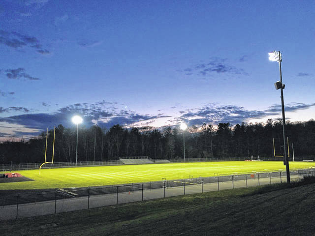 Pictured are the stadium lights ablaze at South Gallia High School on Monday night.