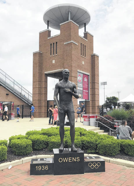 A view of the Jesse Owens statue that stands in the southwest corner of Jesse Owens Memorial Stadium on the campus of Ohio State University in Columbus, Ohio. If there is a 2020 spring sports season in Ohio, the state track and field championships will not be held at Jesse Owens Memorial Stadium for the first time since the 2003 campaign.
