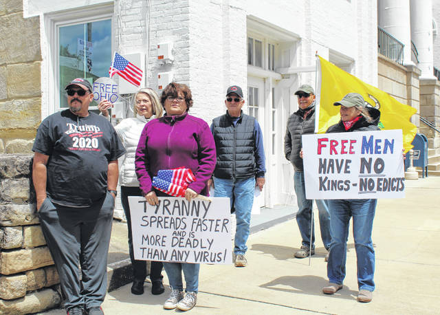 Local residents took part in a Free Ohio Now rally in Pomeroy on Saturday. Similar events were held in at least 34 counties across Ohio.