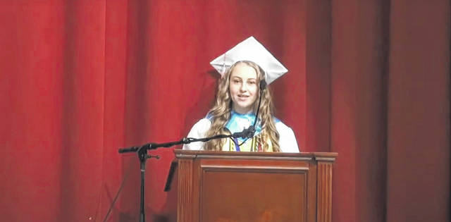 2020 South Gallia High School graduate Olivia Jade Harrison delivers remarks during the school's recent commencement ceremony. Harrison represented the top 10 percent of her class, is a summa cum laude graduate and received an honors diploma.