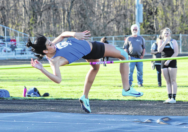 Gallia Academy's Maddie Wright tries to clear the bar during an attempt in the high jump event at the 2019 Gallia County Meet held on April 9, 2019, at River Valley High School in Bidwell, Ohio.