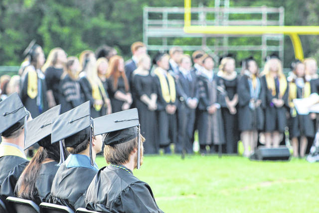 Graduates gathered last year at River Valley High School for a traditional commencement ceremony. This year's commencement ceremonies, for schools across Gallia County, will be aired via the internet starting this weekend. (Beth Sergent | OVP)