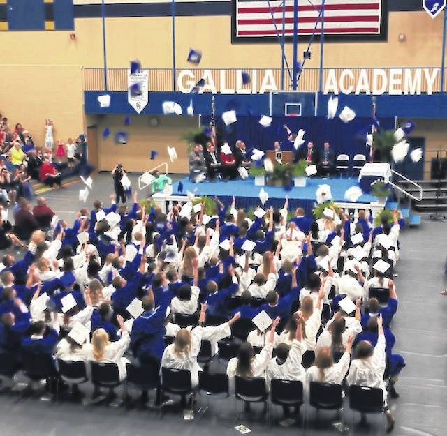 This year's graduation ceremony for Gallia Academy graduates will be unlike any other but a virtual one is scheduled to move forward. Pictured is a scene from last year's graduation.