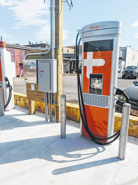 The City of Gallipolis is progressing on the installation of an electric car charger station located in front of the Gallipolis Municipal Building. Pictured is the station which is reportedly the first of its kind in Gallia County. More on this addition to downtown in an upcoming article.