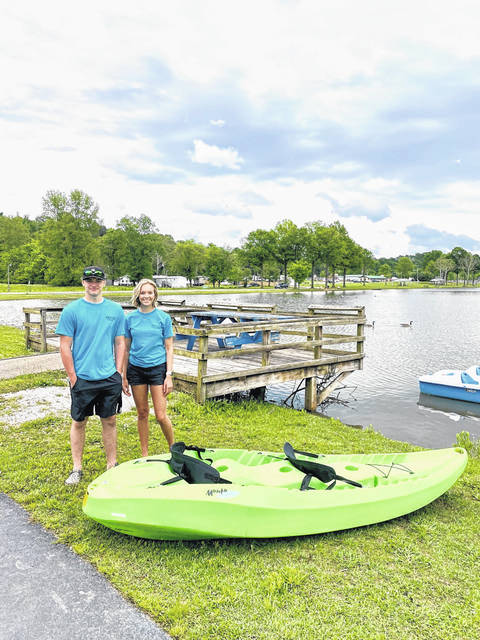 Pictured are Brady Jones and Madison Hatfield, summer employees at the Yak-Shak at Krodel Park.