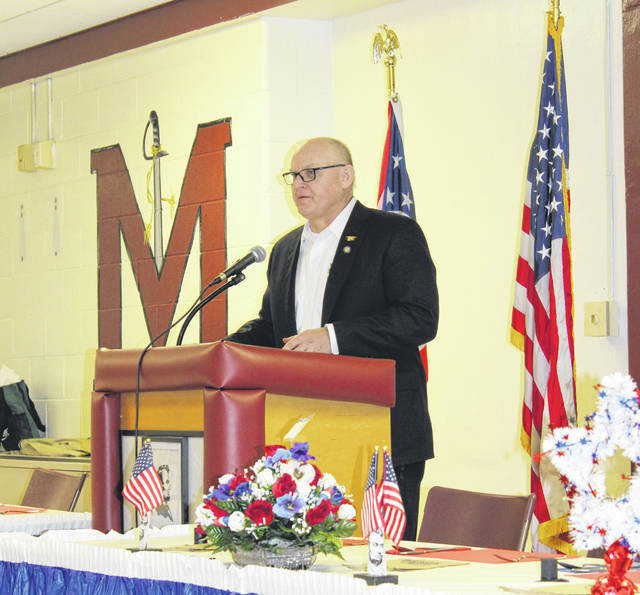 State Senator Frank Hoagland speaks during the 2019 Meigs County Republican Party Lincoln Day Dinner at Meigs High School.