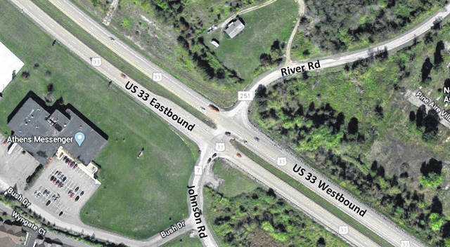 An aerial view of the U.S. 33/Johnson Road intersection.