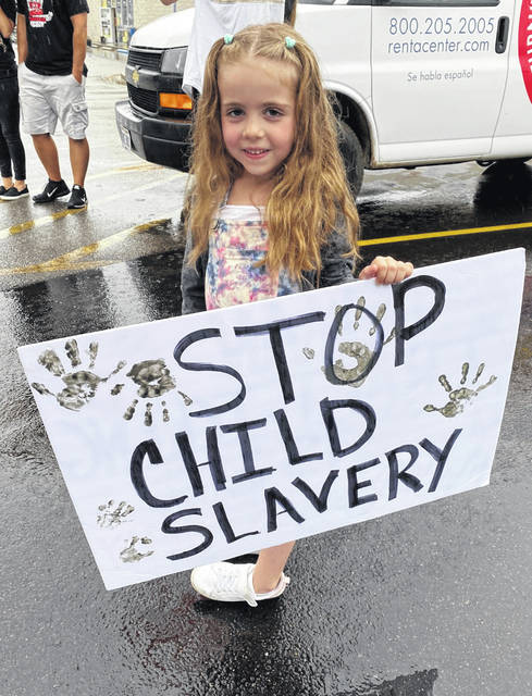 Six-year-old Adalynn Westfall of Racine, Ohio, was the youngest member to take part Thursday in a walk to bring awareness of child slavery and human trafficking. (Mindy Kearns | Courtesy)