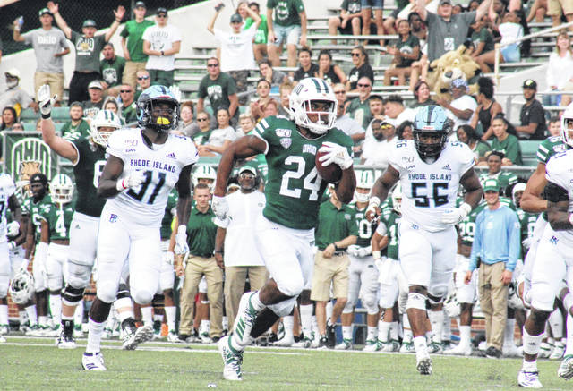 Ohio's De'Montre Tuggle (24) breaks a 55-yard touchdown run, during the Bobcats' 41-20 victory over Rhode Island in the 2019 season opener at Peden Stadium in Athens, Ohio. (Alex Hawley|OVP Sports)