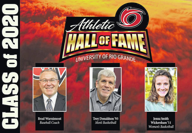 From left, Brad Warnimont, Troy Donaldson and Jenna Smith Wickersham were chosen as part of the Class of 2020 Athletic Hall of Fame inductions to the University of Rio Grande.