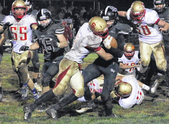 South Gallia defender Kyle Northup wraps up a River Valley ball carrier during the second half of a Nov. 1, 2019, football game in Bidwell, Ohio.