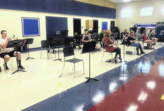 Members of the Gallia Academy band practice in a socially distanced format at the in the High School Band Room. (GAHS Courtesy Photo)