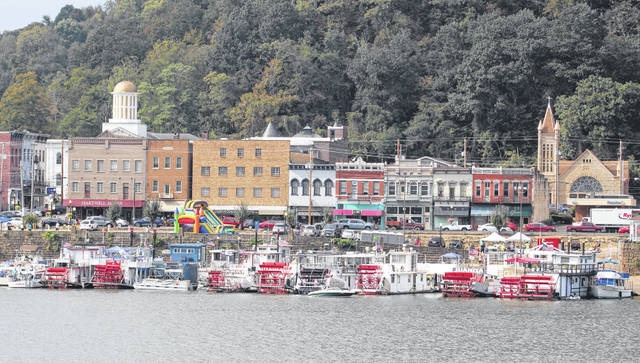 Sternwheelers line the waterfront area in Pomeroy during the 2019 Pomeroy Sternwheel Regatta.
