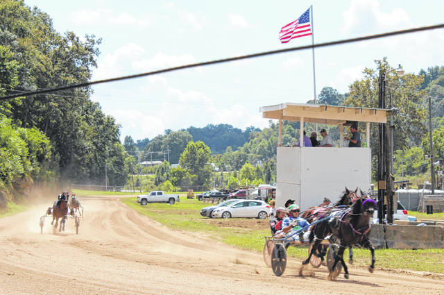 The horse announcer stand project at the Meigs County Fairgrounds is a finalist for grant funding. The announcer stand is seen in the background during the harness race at the 2019 Meigs County Fair.
