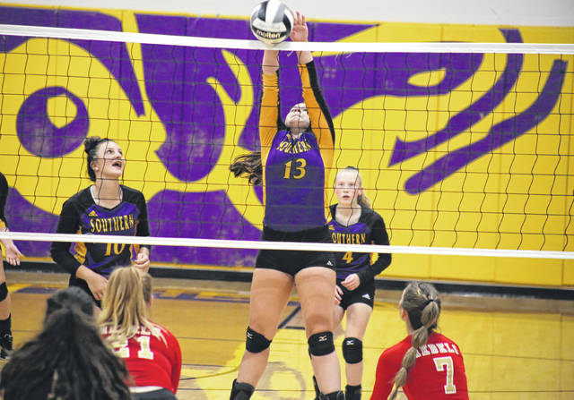Southern's Cassidy Roderus (13) picks up a block during the second set of the Lady Tornadoes' straight games win on Thursday in Racine, Ohio.