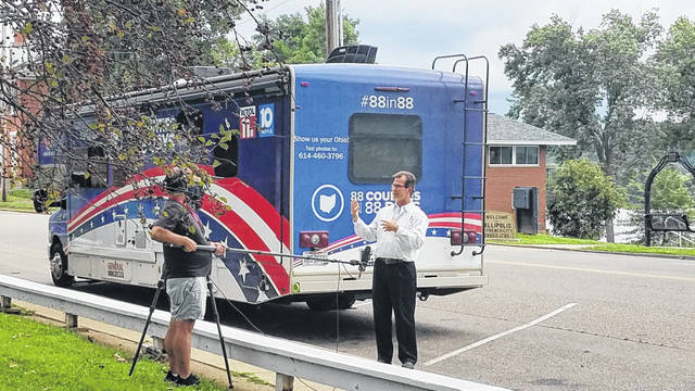 """Gallipolis City Manager Ted Lozier speaks to 3 News/WKYC from Cleveland as part of its, """"88 Counties in 88 Days"""" series. (GCCVB 